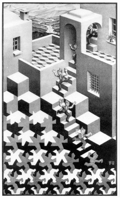 """Cycle"", lithograph by M.C. Escher, 1938"